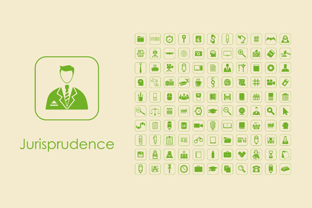 jurisprudence: It is a set of jurisprudence simple web icons Illustration