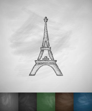 Eiffel Tower icon. Hand drawn vector illustration. Chalkboard Design Illustration