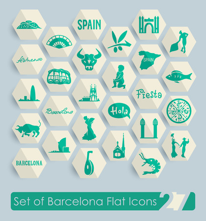 large group of object: Set of Barcelona flat icons for Web and Mobile Applications