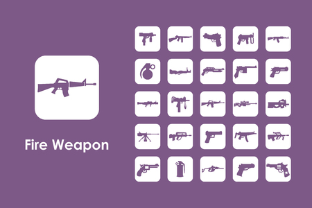 threaded: It is a set of firearms simple web icons Illustration