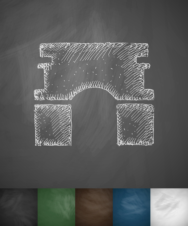 triumphal: Triumphal Arch icon. Hand drawn vector illustration. Chalkboard Design