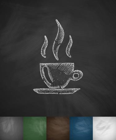 french board: coffee icon. Hand drawn vector illustration. Chalkboard Design