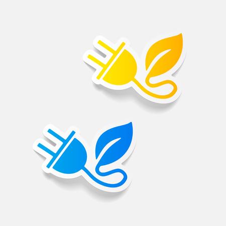 realistic design element: eco plug leaf Illustration