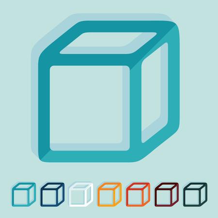 tridimensional: Flat design: cube