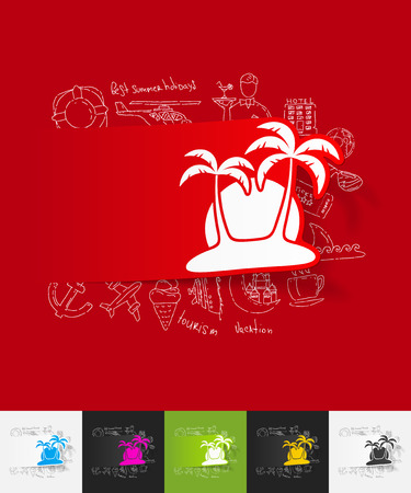 insular: hand drawn simple elements with palm paper sticker shadow