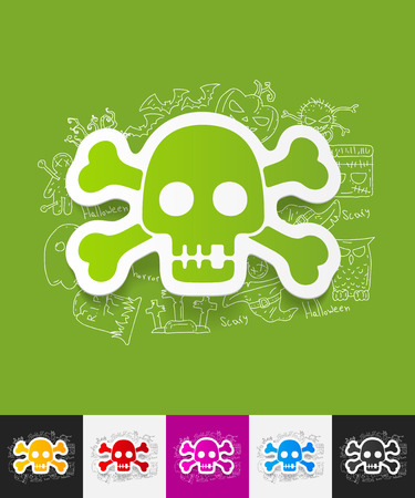 hand drawn simple elements with skull paper sticker shadow Illustration
