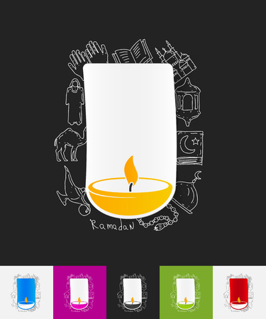 hand drawn simple elements with lamp paper sticker shadow