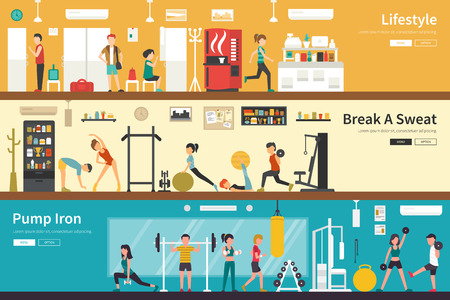 outdoor fitness: Lifestyle Break A Sweat Pump Iron flat fitness interior outdoor concept web. Career Chart Fun