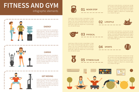 young group: Fitness And Gym infographic flat vector illustration. Editable Presentation Concept Illustration