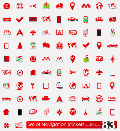 coordinates: navigation vector sticker icons with shadow. Paper cut
