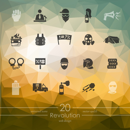 labor strong: revolution modern icons for mobile interface on blurred background Illustration