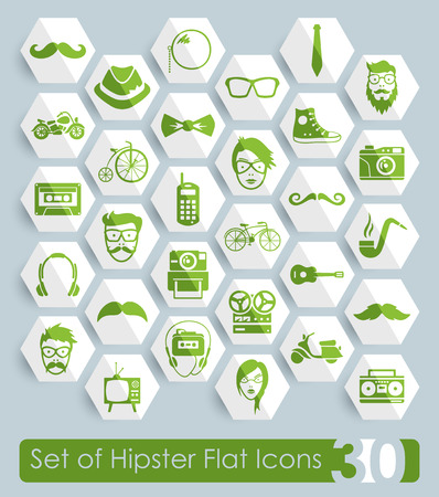 Set of hipster flat icons for Web and Mobile Applications