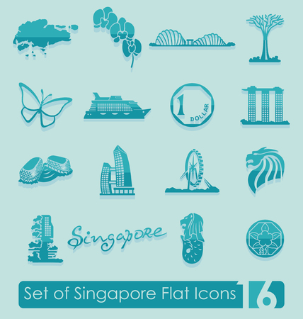 Set of Singapore flat icons for Web and Mobile Applications Illustration
