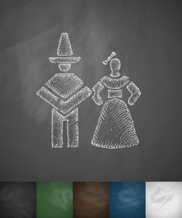 Mexican couple icon. Hand drawn vector illustration. Chalkboard Design