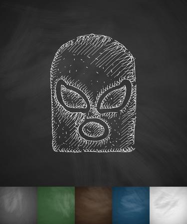 mask fighter icon. Hand drawn vector illustration. Chalkboard Design