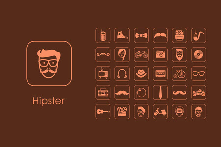 criticism: It is a set of hipster simple web icons Illustration