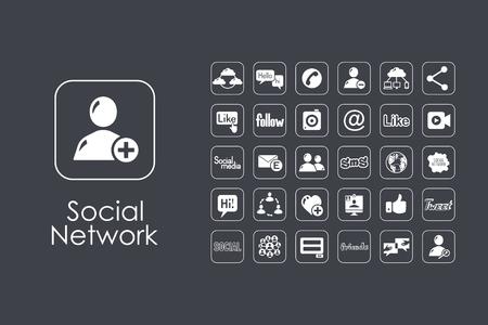 Es un conjunto de iconos de web simple de redes sociales