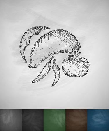 burrito icon. Hand drawn vector illustration. Chalkboard Design Illustration
