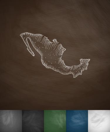 Mexico map icon. Hand drawn vector illustration. Chalkboard Design