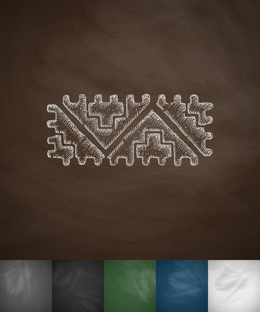 yucatan: Mexican pattern icon. Hand drawn vector illustration. Chalkboard Design