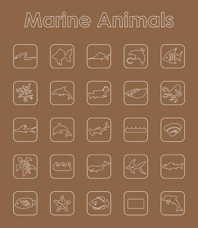 lionfish: It is a set of marine animals simple web icons Illustration