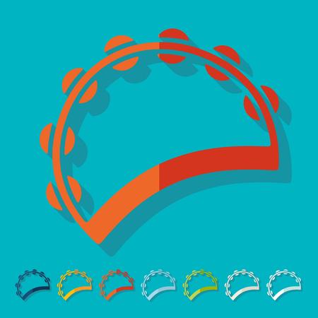 pandero: Flat design: tambourine Vectores