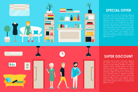 web shopping: Shopping Center and Boutique Rooms flat shop interior concept web. Fashion Clothes Customers Mall Retail Purchase. Vector Illustration Illustration