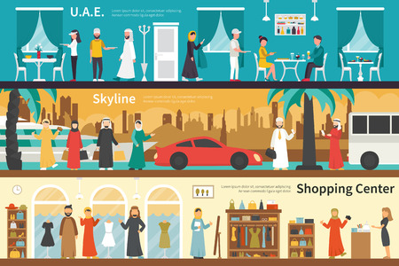 shopping center interior: UAE Skyline Shopping Center flat office interior outdoor concept web. Career Chart Fun Illustration