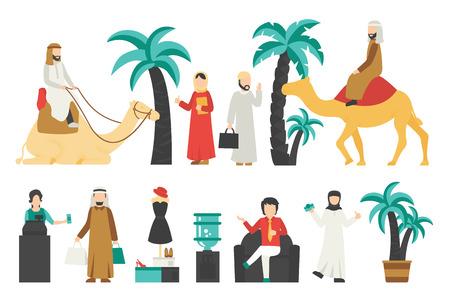 Dubai płaski zestaw. Samodzielnie Na Białym Tle, Ilustracji Wektorowych Ludzi. Grafika Edytowalna Dla Twojego Projektu
