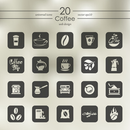 cheerfulness: coffee modern icons for mobile interface on blurred background