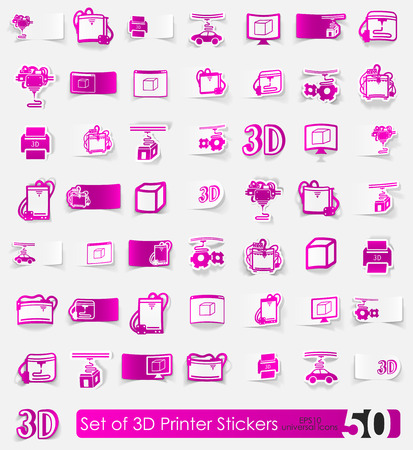 three d: three d printer vector sticker icons with shadow. Paper cut Illustration