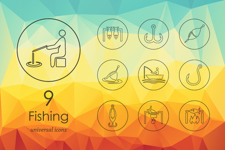 trawl: fishing modern icons for mobile interface on blurred background Illustration