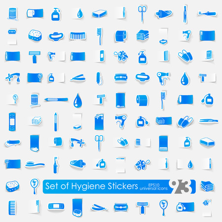 epidemiology: hygiene vector sticker icons with shadow. Paper cut
