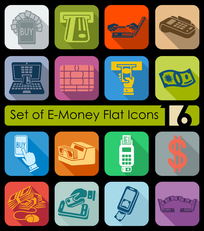 Set of e-money flat icons for Web and Mobile Applications Illustration