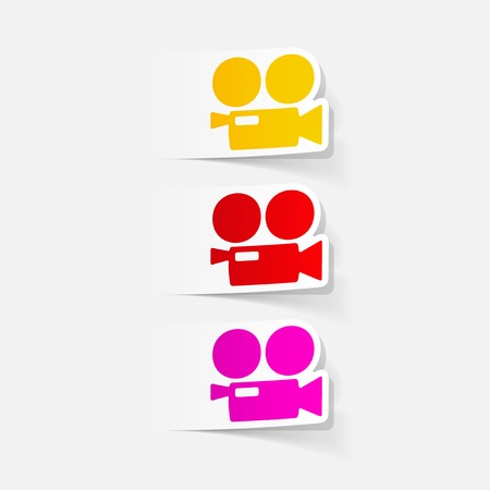 graphic icon: realistic design element: movie camera