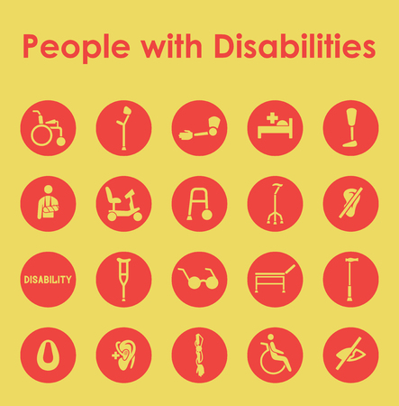 cerebral palsy: It is a set of people with disabilities simple web icons