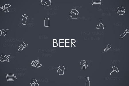 litre: Thin Stroke Line Icons of Beer on White Background