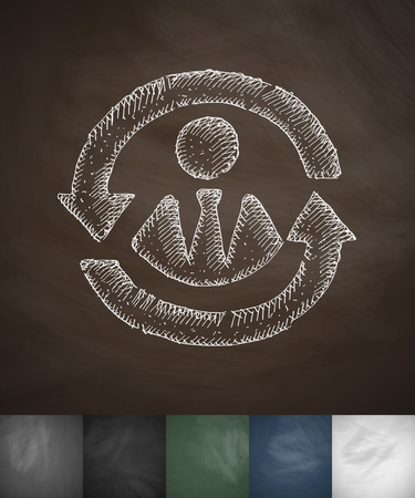 versatile worker icon. Hand drawn vector illustration. Chalkboard Design