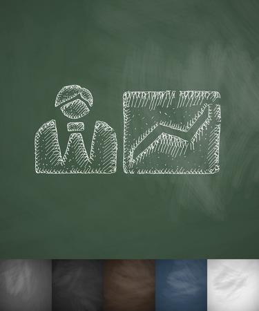 prospect: growth prospect icon. Hand drawn vector illustration. Chalkboard Design