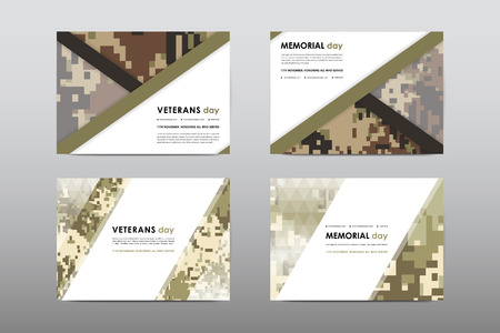 Set of Veterans Day brochure, poster templates in khaki style. Beautiful design and layout. Leaflet cover presentation abstract background Фото со стока - 64214837