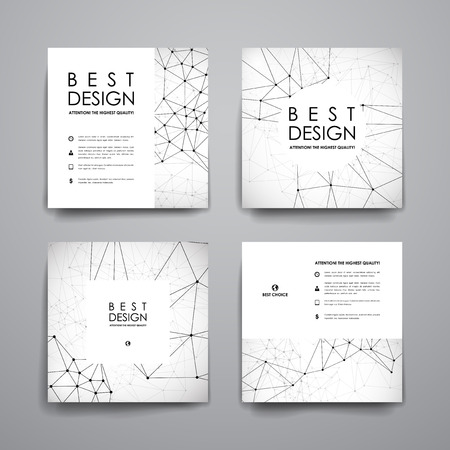macromolecule: Set of modern design banner template in Molecular structure style. Beautiful design and layout Illustration