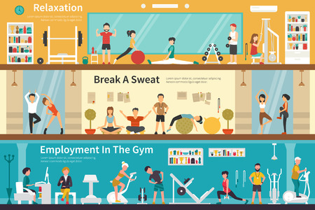 outdoor fitness: Relaxation Break A Sweat Employment In The Gym flat fitness interior outdoor concept web. Career Chart Fun