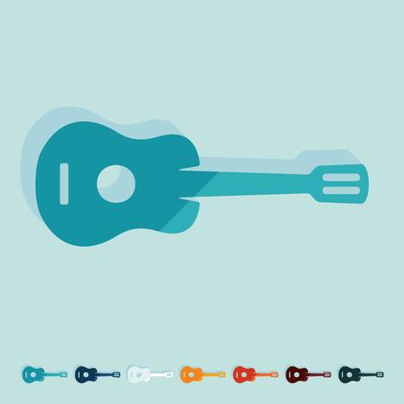 plucking an instrument: Flat design: guitar