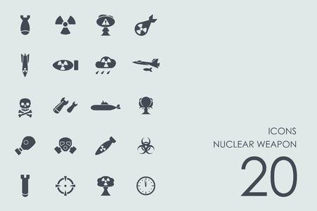 vettore di armi nucleari serie di moderni semplici icone