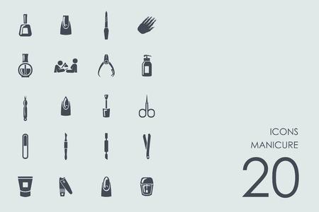 manicurist: manicure vector set of modern simple icons Illustration