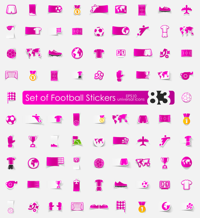 match preview: football vector sticker icons with shadow. Paper cut