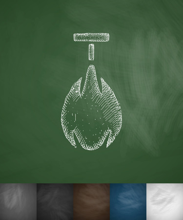 punching: punching bag icon. Hand drawn vector illustration. Chalkboard Design