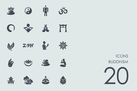 buddhism vector set of modern simple icons