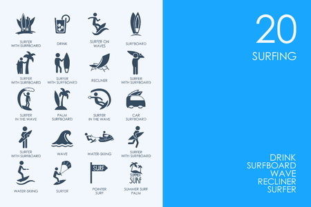 hydroplaning: BLUE HAMSTER Library surfing vector set of modern simple icons
