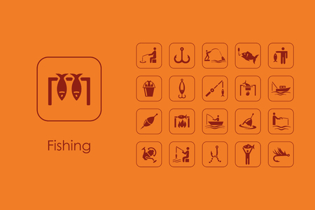 trawl: It is a set of fishing simple web icons Illustration